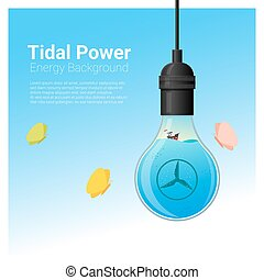 Energy concept background with tidal energy in light bulb 2...