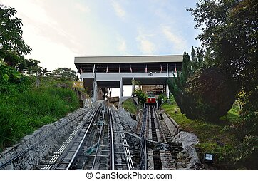Penang hill - Funicular bringing tourists to the top of...