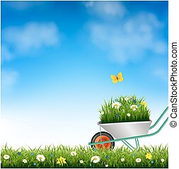 Garden Wheelbarrow And Grass With Gradient Mesh, Vector...