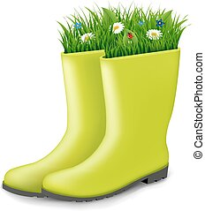 Gumboots With Grass With Gradient Mesh, Vector Illustration