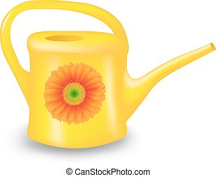 Watering Can With Gradient Mesh, Vector Illustration