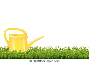 Watering Can With Green Grass Border