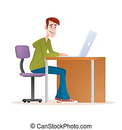 Young man working on computer. Smiling teenager boy sitting on the chair with laptop isolated on white background. Freelancer works at home. Character flat vector illustration. EPS10.