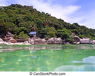 Tropical Island at Summer Season view from the sea