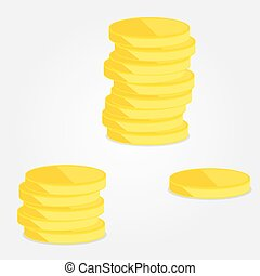 Three piles of gold coins - Three heaps of gold coins,...