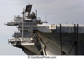Aircraft Carrier Bridge - Side view of the bridge area of an...