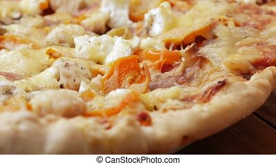 Macro photography of pizza with different types of cheese...