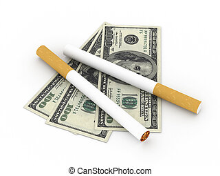 Cost of smoking Two cigarettes and 100 dollar bills isolated...