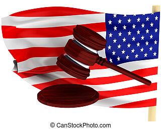 American law. Gavel against background of the U.S. flag....