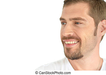 Portrait of a handsome young man on a white background