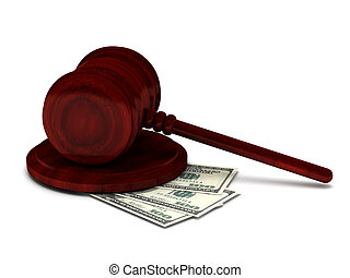 Corruption justice Gavel and money isolated on white...