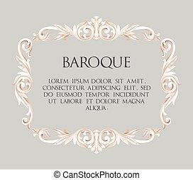 Vector baroque frame - Vector baroque white frame with...