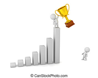 3D Character Looking up at Winner with Trophy - 3D character...