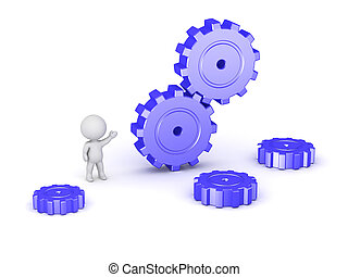 3D Character and Large Gears - 3D character and some large...