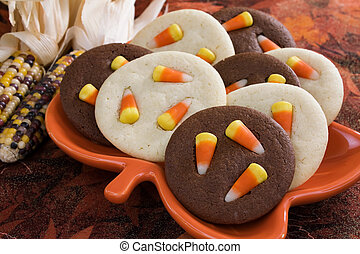Candy Corn Cookies - Sugar cookies and chocolate cookies...