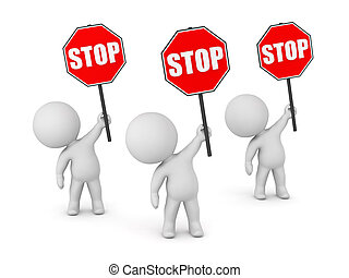 3D Characters with Stop Signs - Three 3D characters holding...