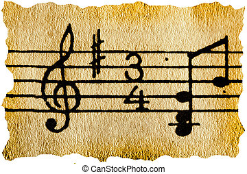 Music notation key on old retro paper
