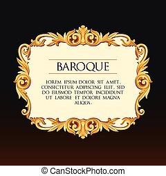 Vector baroque frame - Vector baroque golden frame with...