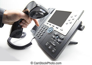 Dialing IP telephone keypad - Making a call, man is dialing...