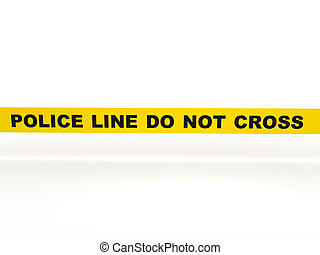 Police line do not cross. Yellow tape isolated on white...