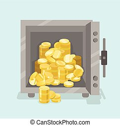 Opened safe with coins in front view. Flat style