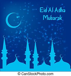 Muslim Community Festival of sacrifice Eid-Ul-Adha. Vector...