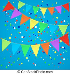 Colorful confetti background with flags