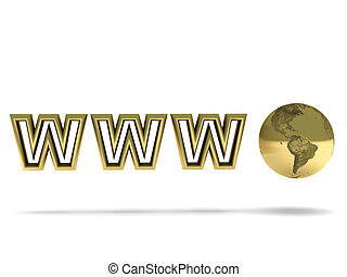 World Wide Web. Golden globe and letters isolated on white...