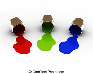 RGB paints - RGB spilled paints isolated on white...