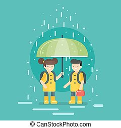 Vector illustration of smiling kids going to school in the rain.