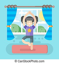 Vector illustration of cute girl in yoga pose.