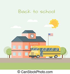 Vector illustration of school building and bus.