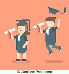 Vector illustration of boy and girl in Graduate Costumes. -...