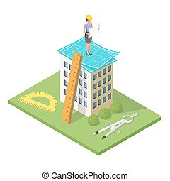 Vector isometric 3d illustration of city building with blueprints. Architectural background with engineer woman