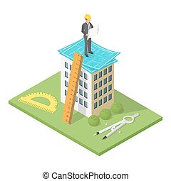 Vector isometric 3d illustration of city building with blueprints. Architectural background