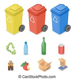 Vector isometric set of waste sorting cans.