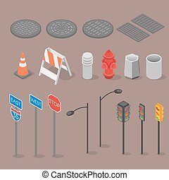 Isometric set icon of city objects