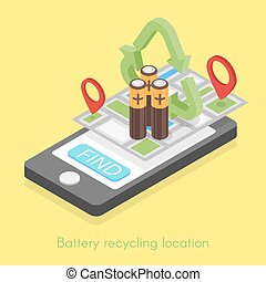 Isometric illustration for battery recycling location.