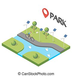 Vector isometric illustration of park.