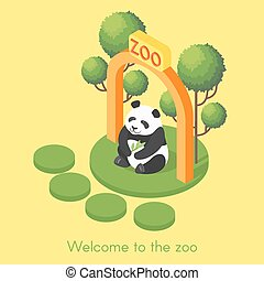 Vector isometric illustration of panda.