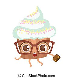 Cupcake In Glasses With Suitcase Cute Anime Humanized Cartoon Food Character Emoji Vector Illustration
