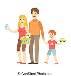 Mom, Dad And Son Holding Toy Car Shopping, Illustration From Happy Loving Families Series