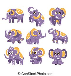 Stylized Elephant With Polka-Dotted Pattern Series Of Childish Stickers Or Prints Of Friendly Toy Animal In Violet And Yellow Color