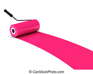 Pink paint roller