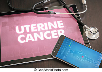 Uterine cancer (cancer type) diagnosis medical concept on...