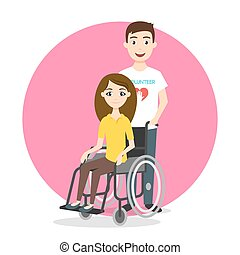 Vector illustration of young woman in wheelchair.