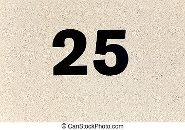 Number twenty five - Number twenty-five on a plastered wall.