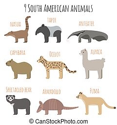 Vector set of South American animals icons. Anteater, tapir,...