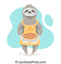 Vector illustration of happy cute sloth wearing kitchen...