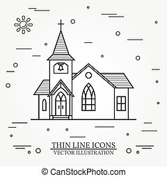 Vector thin line icon church. For web design and application...